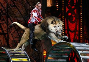 Lion tamer riding one of his circus lions