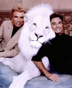 400393 01: World-renowned illusionists and conservationists Siegfried & Roy pose with Pride, the Magical White Lion in this undated photo. The Las Vegas entertainers, honored as Magicians of the Century, perform at The Mirage where they have been the longest and most successful entertainers in the history of Las Vegas. (Photo courtesy of Siegfried & Roy/The Mirage via Getty Images)